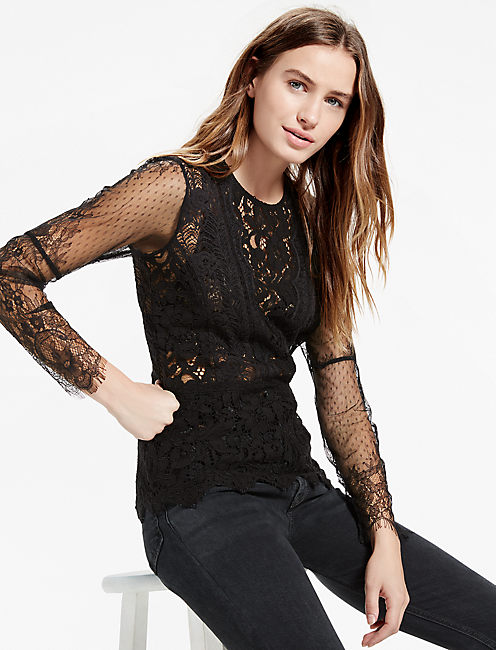 MIXED SCALLOP LACE TOP,