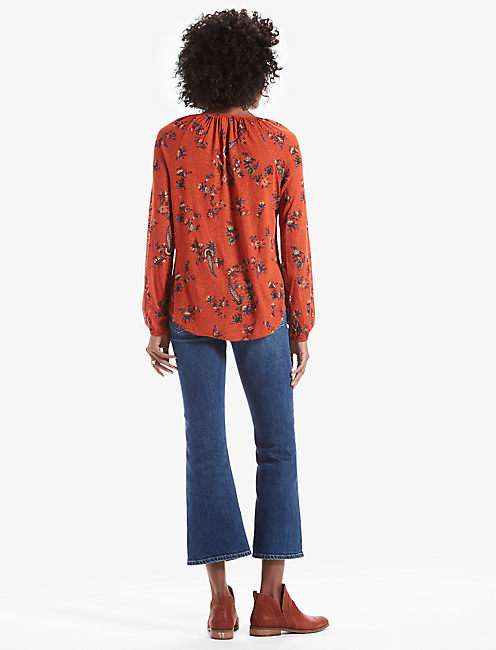 PRINTED PEASANT TOP, RUST MULTI