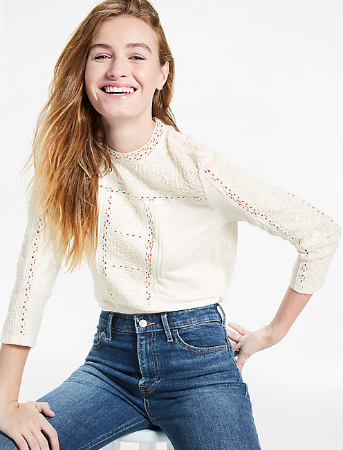 EMBROIDRED NECK TOP,