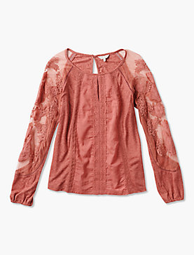 LACE MIX EMBROIDERED TOP
