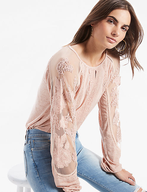 LACE MIX EMBROIDERED TOP,
