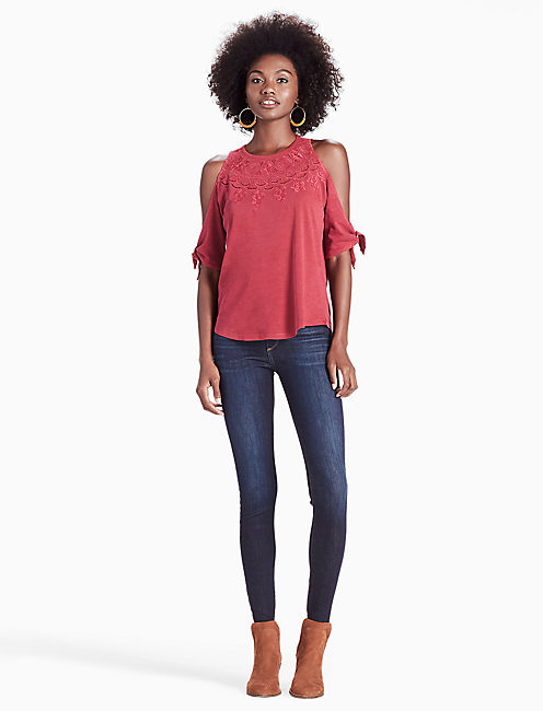 EMBROIDERED COLD SHOULDER TOP, PERSIAN RED