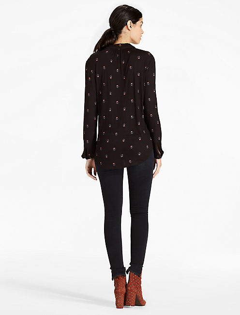 DITSY BUTTON UP SHIRT, BLACK MULTI