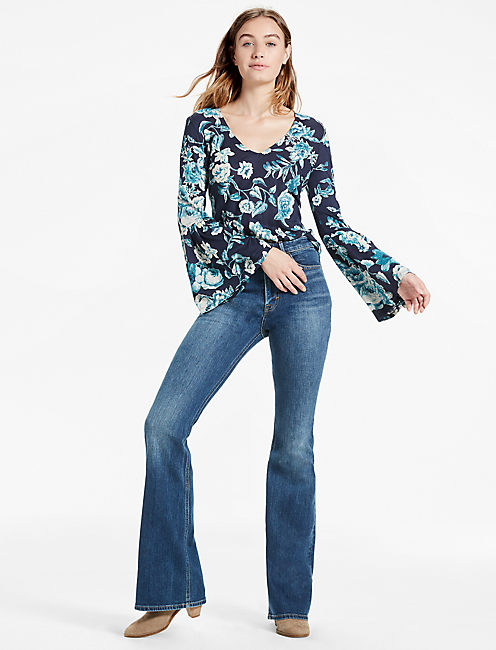 Lucky Floral Bell Sleeve Top
