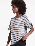 MIX STRIPE RUFFLE TEE,