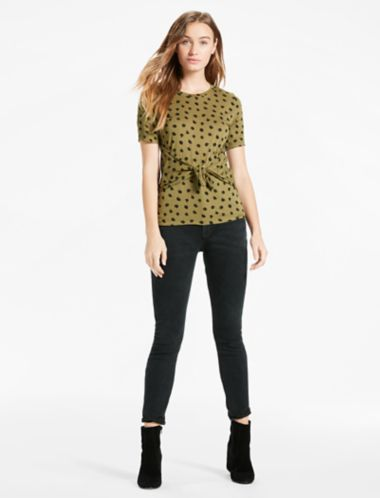 Lucky Ditsy Tie Front Tee