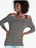 STRIPE OFF THE SHOULDER, BLACK/CREAM