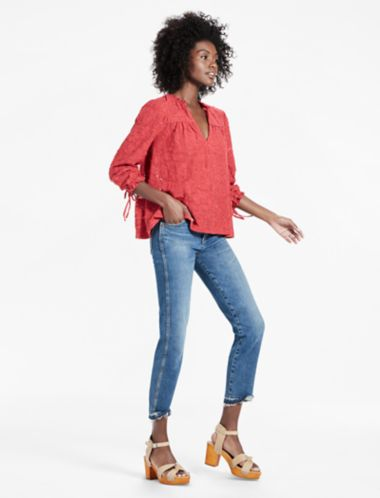 Lucky Clip Jacquard Peasant Top