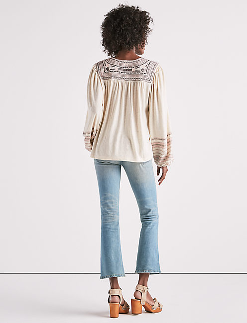 MARKET EMBROIDERED PEASANT TOP,