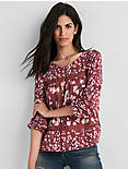 PRINTED LACE INSERT TOP,