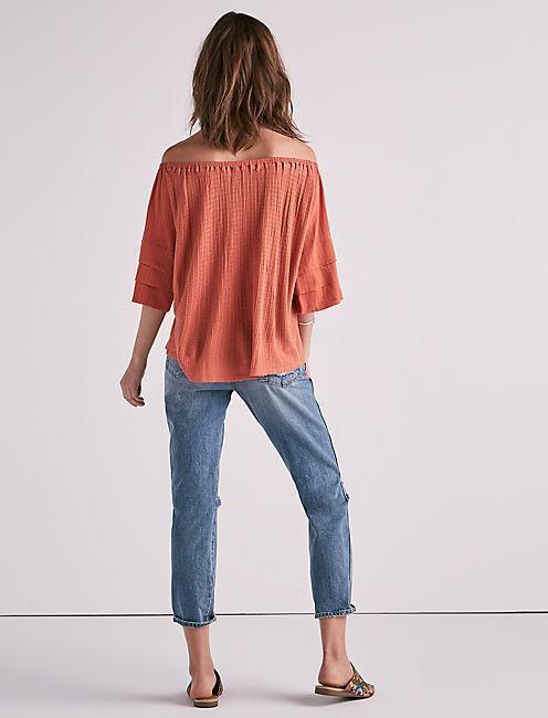 TIERED SLEEVE OFF THE SHOULDER TOP, APRICOT BRANDY