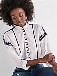 EMBROIDERED SCALOPPED SHIRT,