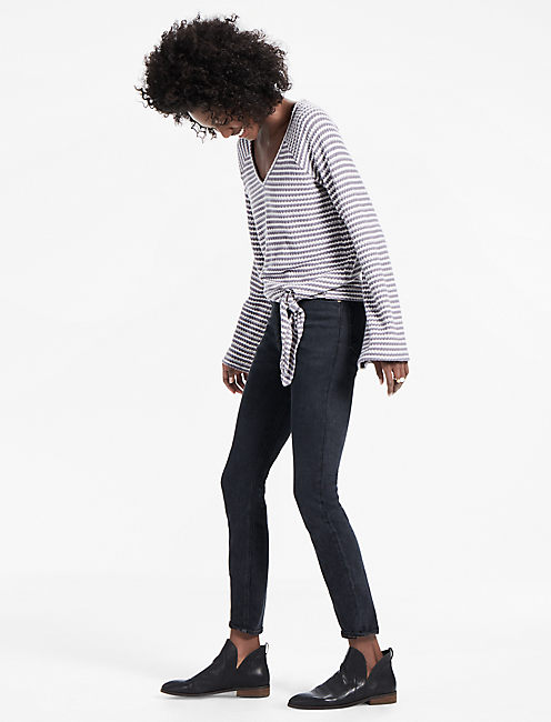 Lucky Stripe Bell Sleeve Tie Front Top