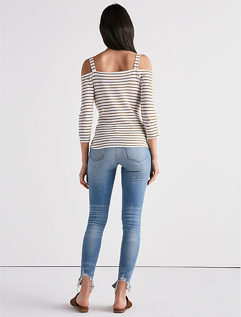 STRIPE TIE FRONT OFF THE SHOULDER TEE,