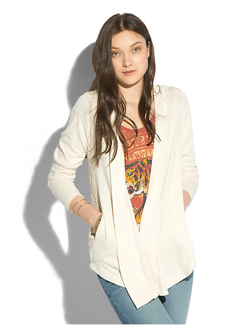 SWEATER BACK HOODIE, LUCKY WHITE