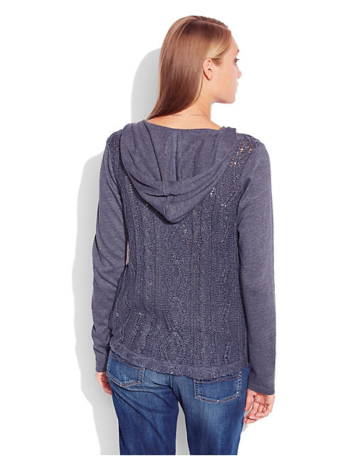 SWEATER BACK HOODIE, HEATHER NAVY