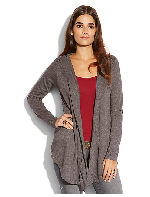 SWEATER BACK HOODIE, CHARCOAL HEATHER