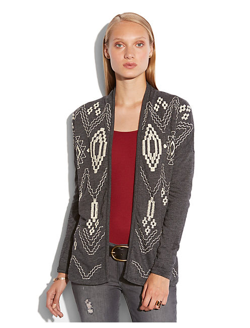 ALLOVER EMBROIDERY JACKET, 79 CHARCOAL