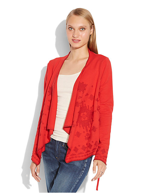EMBROIDERED WRAP CARDI, #6704 HAUTE RED