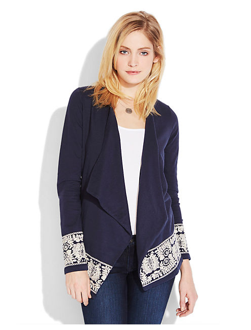 EMBROIDERED WRAP JACKET, AMERICAN NAVY