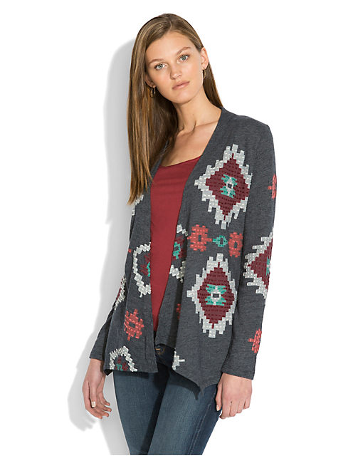 EMBROIDERED JACKET, NAVY HEATHER