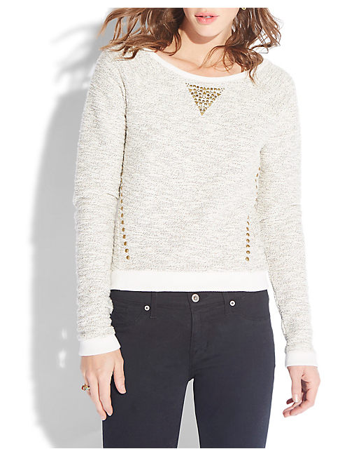STUDDED METALLIC PULLOVER, NATURAL MULTI