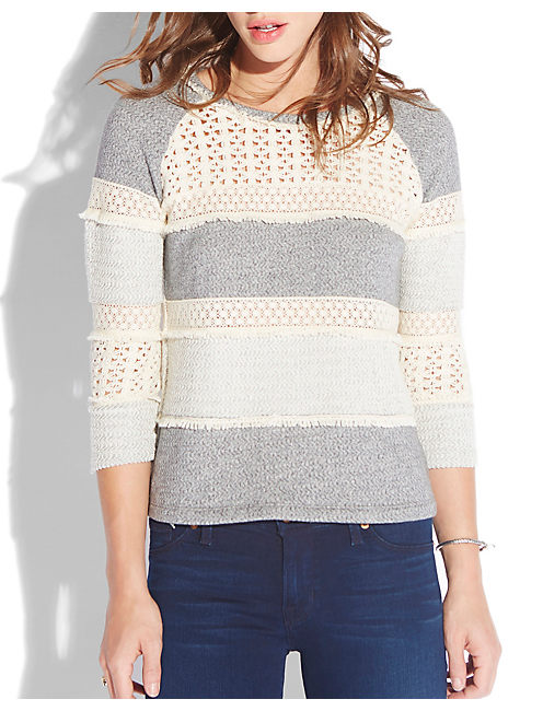 CROCHET PULLOVER, HEATHER GREY