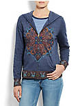 MEDALLION ZIP-UP HOODIE, NAVY HEATHER