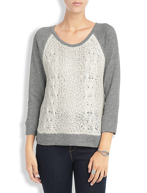 SWEATER FRONT PULLOVER, HEATHER GREY COMBO