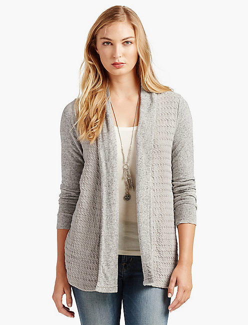WOVEN MIXED WRAP, HEATHER GREY