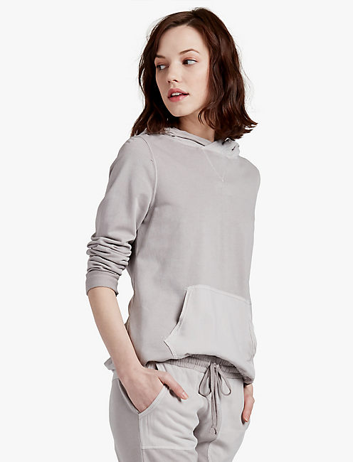 WOVEN MIXED PULLOVER, CLOUD GRAY