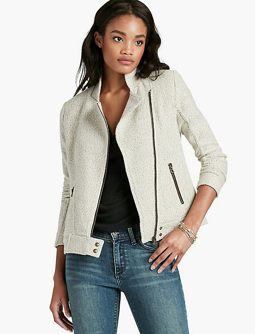 TEXTURED MOTO JACKET,