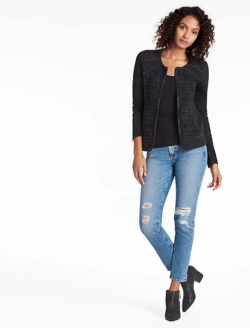 LACE MIXED JACKET, JET BLACK