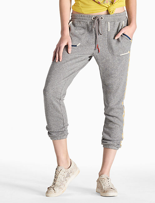 EMBROIDERED PANT, HEATHER GREY