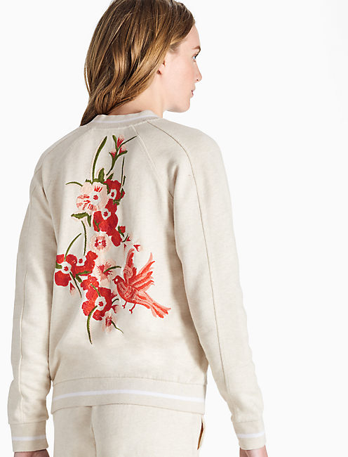 EMBROIDERED BIRD BOMBER JACKET,