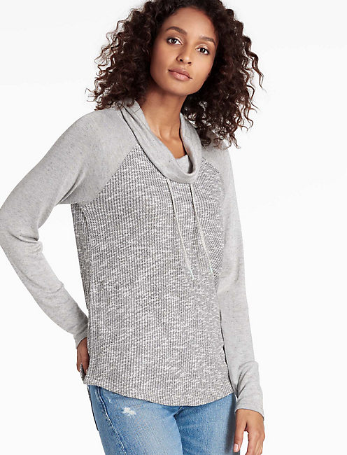 SLUB COWL PULLOVER, HEATHER GREY