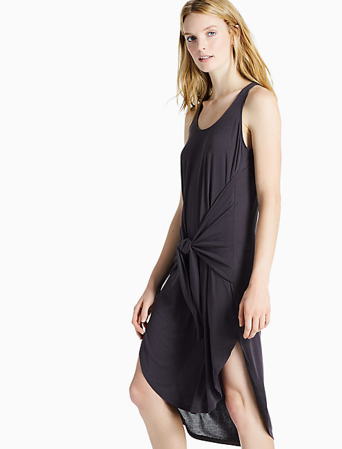 TIE FRONT SAND WASHED DRESS, 001 LUCKY BLACK