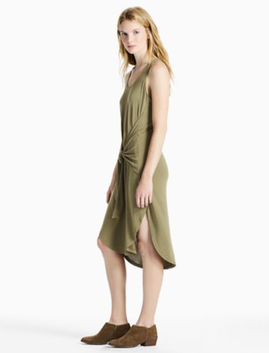 Lucky Tie Front Sand Washed Dress