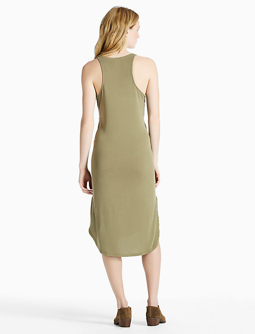 TIE FRONT SAND WASHED DRESS, DARK OLIVE
