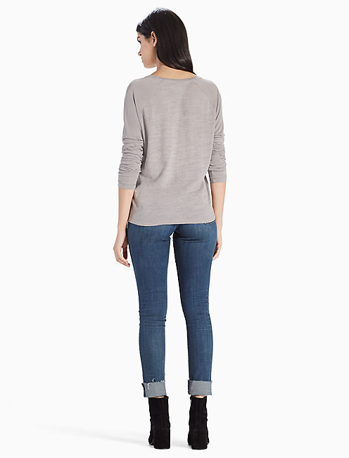 SAND WASH LONG SLEEVE TEE, STEEL GRAY