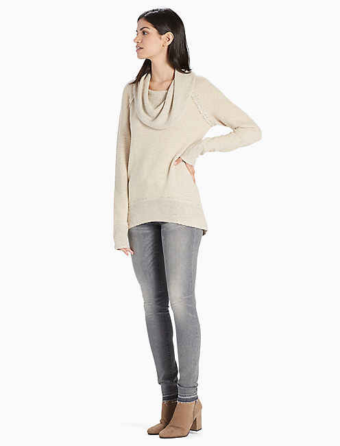COWL NECK PULLOVER, CREAM MULTI
