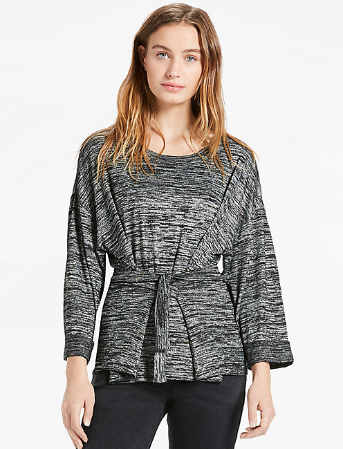 SPACE DYE TOP, HEATHER CHARCOAL
