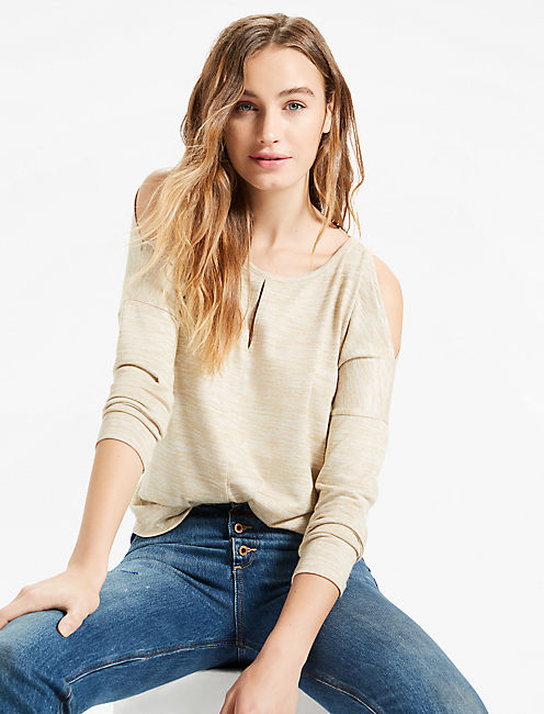 COLD SHOULDER TOP, HEATHER OATMEAL