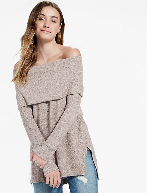COWL NECK PULLOVER, HEATHER BLUSH