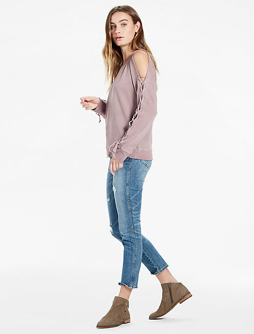 Lucky Lace Up Sleeve Pullover
