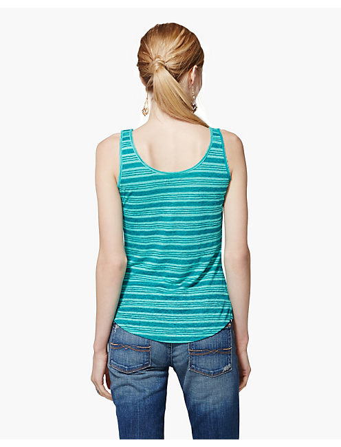 CATARINA LINEN STRIPE TEE, GREEN MULTI