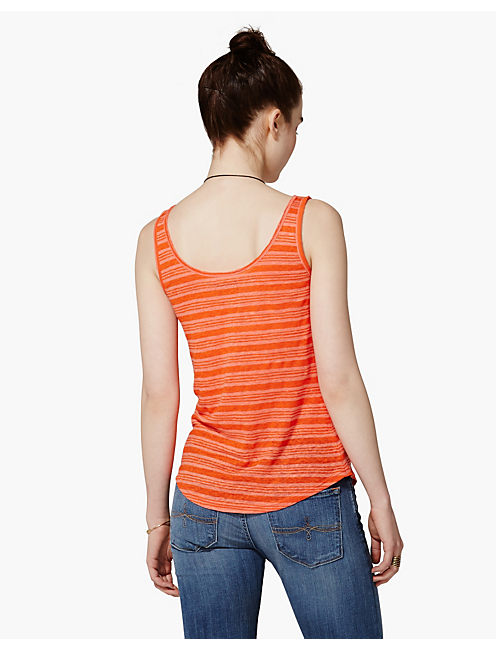 CATARINA LINEN STRIPE TEE, ORANGE MULTI