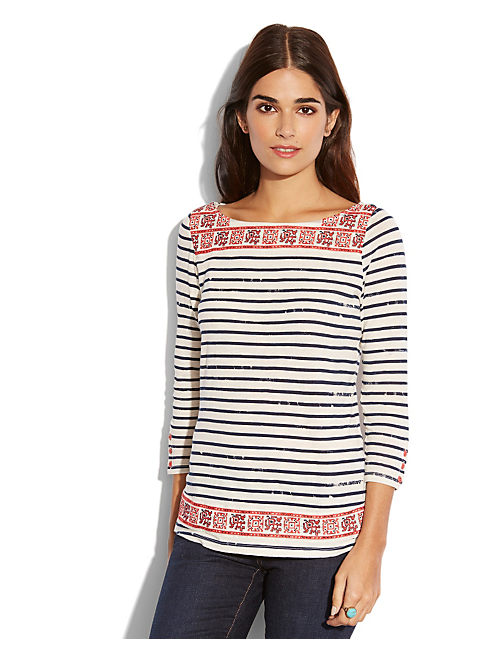 AUSTIN STRIPED TEE, BLUE MULTI