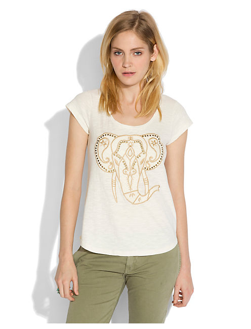 EMBROIDERED ELEPHANT TEE, #2413 NIGORI