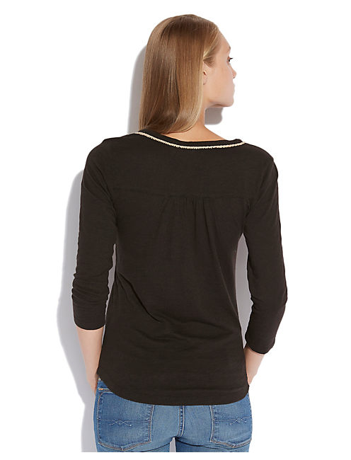 EMILY EMBROIDERED HENLEY, 001 LUCKY BLACK